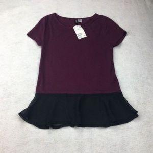 H&M Burgundy Black Peplum Blouse Top Shirt Work